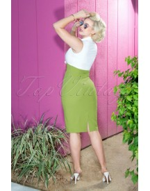 50s Rizzo Pencil Dress In Green And Off White afbeelding
