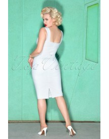 50s Trinity Pencil Dress In Off White afbeelding