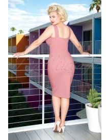 50s Trinity Pencil Dress In Rose afbeelding