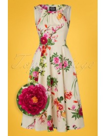 50s Flavia Floral Swing Dress In Cream afbeelding