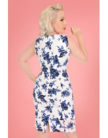 50s Rosaceae Floral Wiggle Dress In White And Blue afbeelding