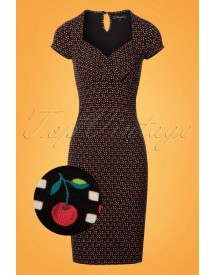 50s Perry Cha Cha Pencil Dress In Black afbeelding