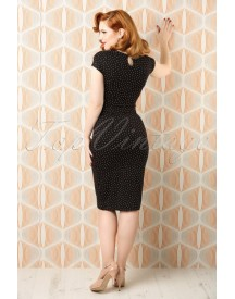 50s Perry Little Dots Pencil Dress In Black afbeelding