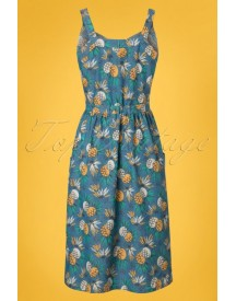 60s Beth Lanai Dress In Ocean Blue afbeelding