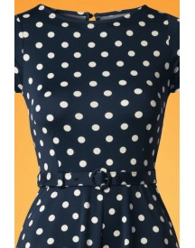 60s Betty Party Polka Dress In Ink Blue afbeelding