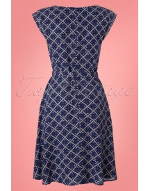 60s Betty Seaside Dress In Royal Blue afbeelding