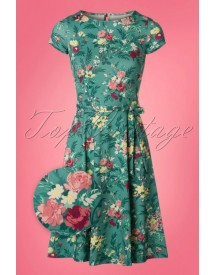 60s Betty Woodrose Swing Dress In Emerald Blue afbeelding