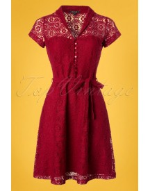 60s Emmy Doily Lace Dress In Cherry Red afbeelding