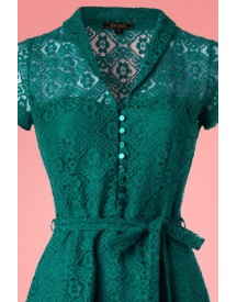 60s Emmy Doily Lace Dress In Waterfall Green afbeelding