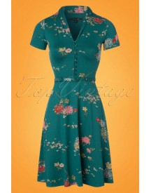 60s Emmy Goldflower Dress In Lapis Blue afbeelding