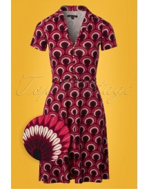 60s Emmy Peacock Dress In Beaujolais Red afbeelding