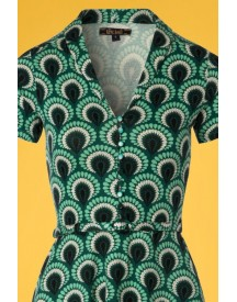 60s Emmy Peacock Dress In Rock Green afbeelding