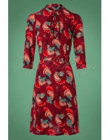 60s Gaya Apollo Dress In Grape Red afbeelding