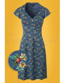 60s Gina Madelin Dress In Palace Blue afbeelding