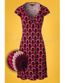 60s Gina Peacock Dress In Beaujolais Red afbeelding