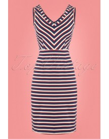 60s Lotta Skipper Stripe Dress In Royal Blue afbeelding