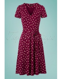 60s Lou Chatter Dress In Beaujolais Red afbeelding