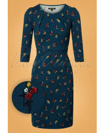 60s Mona Mayflower Dress In Orient Blue afbeelding