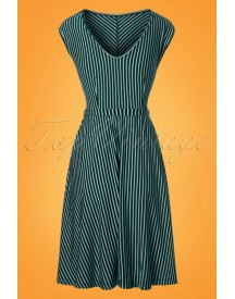 70s Grace Slim Shady Swing Dress In Waterfall Green afbeelding