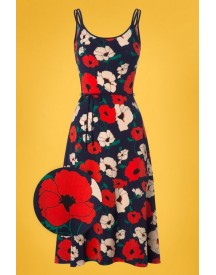 70s Viola Shirley Poppy Dress In Navy afbeelding