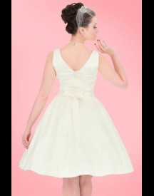 50s Lina Wedding Tea Dress In Ivory Satin afbeelding