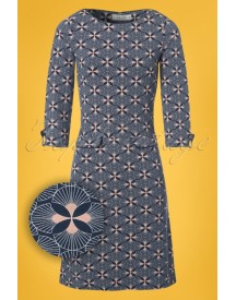 60s Echelle A-line Dress In Blue afbeelding