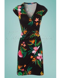 60s Buenos Aires Paradise Dress In Black afbeelding
