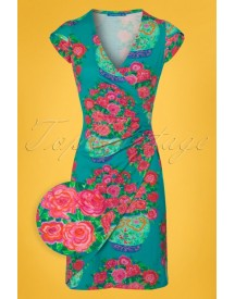 60s Buenos Aires Roses Dress In Lagoon afbeelding