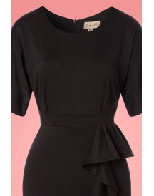 50s Angelina Pencil Dress In Jet Black afbeelding