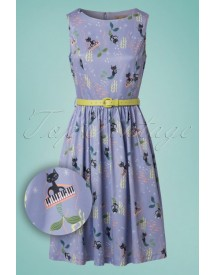 50s Audrey Mercats Swing Dress In Lilac afbeelding