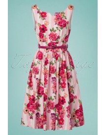 50s Delta Floral Bouquet Swing Dress In Pink afbeelding