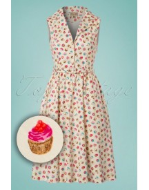 50s Matilda Cupcakes Swing Dress In Cream afbeelding