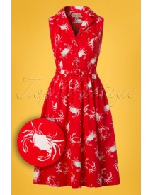 50s Matilda Shellfish Swing Dress In Red afbeelding