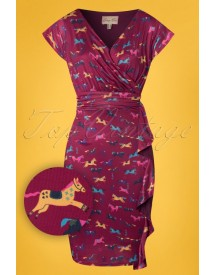 50s Niamh Wild Horses Wrap Dress In Deep Ruby afbeelding