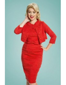 60s Maybelle Jacquard Twin Set In Red afbeelding