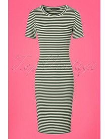 60s Belle Stripes Dress In Olive afbeelding