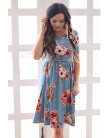 60s Natalie Floral Dress In Dusty Blue afbeelding
