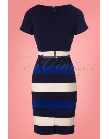 60s Valarie Pencil Dress In Navy afbeelding