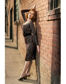 50s Deadly Dames Hotrod Honey Dress In Leopard afbeelding