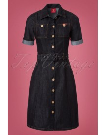 50s Ladies Jeans Dress In Denim Blue afbeelding