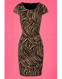 50s Olga Zebra Pencil Dress In Sand And Black afbeelding