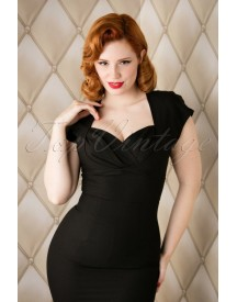 50s Thalia Pencil Dress In Black afbeelding