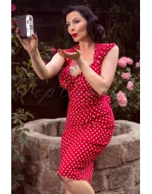 Love Polkadot Print Bow Pencil Dress Red afbeelding