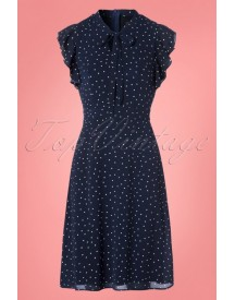 40s Florrie Polka Ruffle Dress In Navy afbeelding