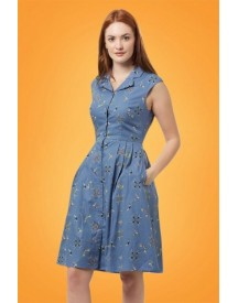 50s Adora Swimmers Shirt Dress In Blue afbeelding