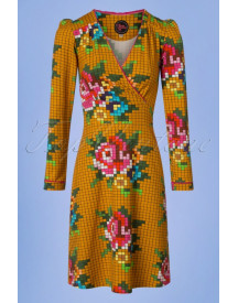 60s Auntie Pixel Rose Dress In Gold Yellow afbeelding