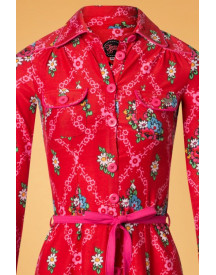 60s Betsy Gardenia Dress In Red afbeelding