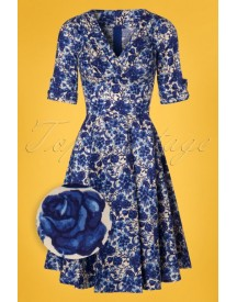 50s Delores Floral Swing Dress In Rococo Blue afbeelding