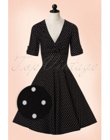 50s Delores Polkadots Swing Dress In Black afbeelding