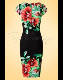 60s Aloha Tropical Garden Short Sleeves Pencil Dress In Black afbeelding